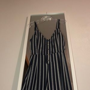 Striped navy blue and white full length jumpsuit